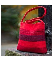 alpaca shoulder bag, 'scarlet world' (peru)