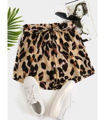 yoins leopard cinturón design shorts de gasa