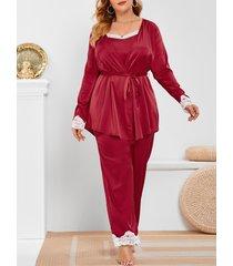 plus size lace trim satin three piece pants pajamas set