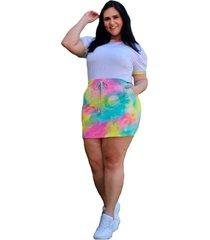 conjunto de shorts saia com t -shirt summer body viscolycra tie dye - amarelo - kanui