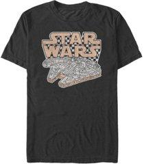 star wars men's classic retro checkered millennium falcon short sleeve t-shirt