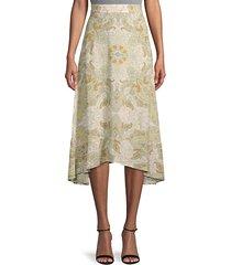 asymmetrical paisley skirt