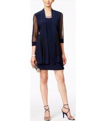r & m richards petite embellished dress and illusion duster jacket