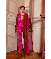womens you're losing your touch wide-leg velvet pants - hot pink