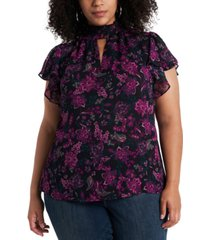 1.state trendy plus size flutter-sleeve keyhole top