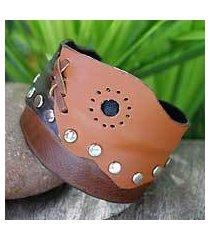 leather cuff bracelet, 'modern trend' (thailand)