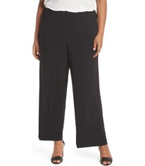 plus size women's alex evenings matte jersey straight leg pants, size 3x - black