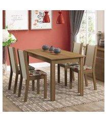 conjunto sala de jantar madesa bea mesa tampo de madeira com 4 cadeiras rustic/crema/floral hibiscos