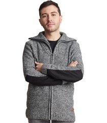 sweater zipper cuello alto gris sioux
