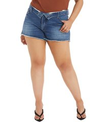 plus size women's good american the cut off foldover waist denim shorts, size 18 - blue