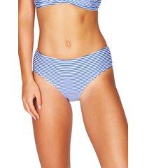 women's sea level sorrento stripe bikini bottoms, size 14 us - blue