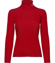 rib roll neck with ck turtleneck coltrui rood calvin klein jeans