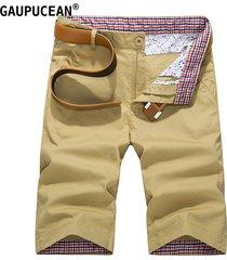 pantalón corto casual gaupucean de algodón para hombre-caqui
