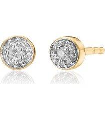 gold fiji tiny button diamond stud earrings diamond