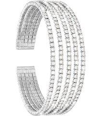 bracciale rigido multifilo in metallo rodiato con strass per donna