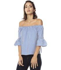 blusa blanca-azul ambiance