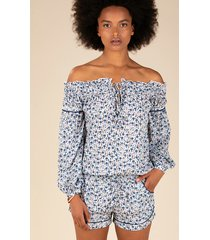 poupette st barth clara jumpsuit white bluebell
