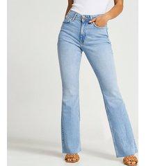 river island womens petite blue bum sculpt flared jeans