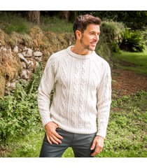men's connacht aran sweater cream l