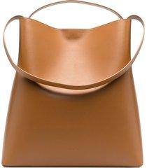 aesther ekme magnetic-fastening leather shoulder bag - brown