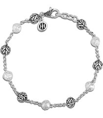 'classic chain' hammered bead silver bracelet