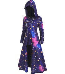 plus size drawstring 3d galaxy high low long hoodie