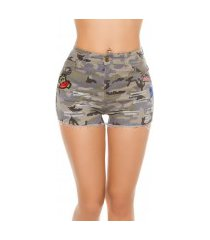 sexy camouflage jeans shorts met patches leger-kleurig