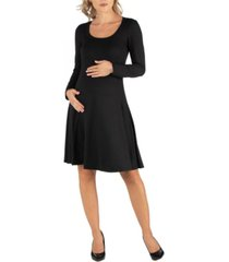 24seven comfort apparel long sleeve flared maternity t-shirt dress