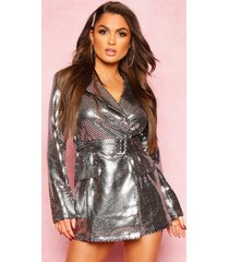 metallic tailored blazer romper, silver