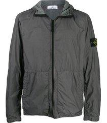stone island crinkle reps hooded jacket - grey