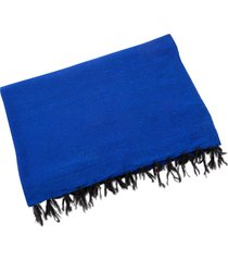 native yoga solid color woven blanket blue cotton