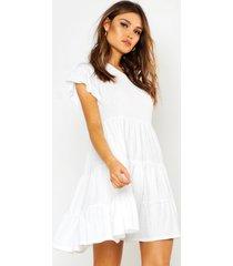 crinkle frill sleeve tier smock dress, white