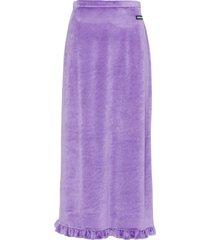 miu miu ruffle-trim velvet midi skirt - purple