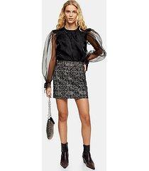 petite mini leopard print flocked denim skirt - monochrome