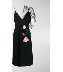 prada lace-panelled floral-appliqued midi dress