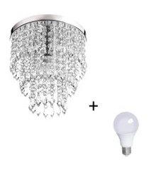 lustre de cristal acrilico manucrillic com lâmpada 3000k (br