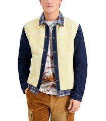 sun + stone men's clarence mixed-media colorblocked trucker jacket, created for macy's