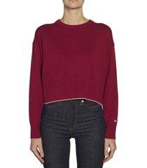 sweater bordó calvin klein cropped cotton crew neck