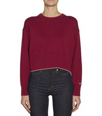 sweater bordó calvin klein cropped cotton crew neck