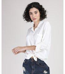 camisa feminina ampla com bolsos manga longa off white
