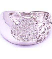 anel boca santa coração mágico - ouro branco