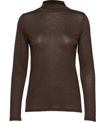 tencel polo neck top t-shirts & tops long-sleeved bruin filippa k
