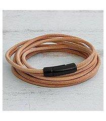 leather cord bracelet, 'sand rivers' (brazil)