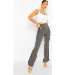skinny broek met wijde pijpen en geplooide zijkant, dark grey