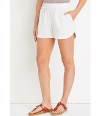 maurices womens white linen pocket dolphin 3.5in shorts