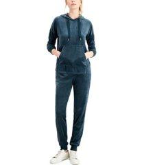 alfani velour hoodie & pants pajama set, created for macy's
