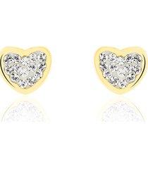 orecchini cuore a lobo in oro e cristalli per donna