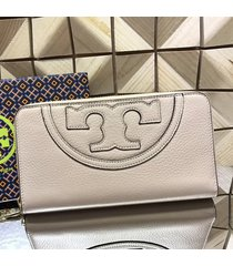 nwt tory burch all-t leather zip continental wallet