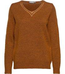 fremally 4 pullover stickad tröja brun fransa
