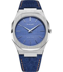 d1 milano denim ultra thin 40mm watch - blue
